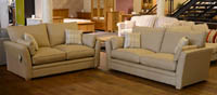 Cavendish coniston beige fabric suite 2 seater and 3 seater sofas